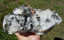 Clear Quartz HUARON Crystal Point Cluster w/Galena Pyrite Transformation Stone