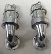 VINTAGE INDUSTRIAL STYLE WALL LAMPS - PAIR OF ALUMINIUM LIGHTS WITH GLASS DOME