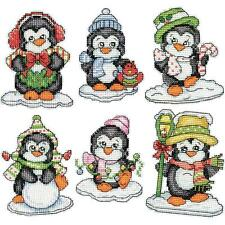 Counted Cross Stitch Kit PENGUINS ON ICE Ornaments Set of 6; Christmas, Penguin
