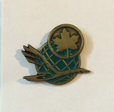 Air Canada Canadian Airlines Brass Tone Green Enameled Service Pin Clutch Back