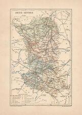 C9077 France - Deux-Sèvres - Cartina geografica antica - 1892 antique map