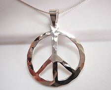 Hammered Peace Symbol Pendant 925 Sterling Silver Corona Sun Jewelry Pacifist