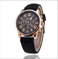 Fashion Geneva Golden Crystal Leather Luxury Lady Women Quartz Wrist Watch black