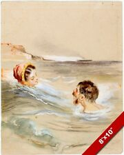 MAN & WOMAN SWIMMING BATHING IN THE OCEAN SEA PAINTING ART REAL CANVAS PRINT