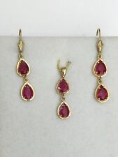 14k Solid Gold Dangle Set Lever Back Earrings & Pendant 5.4CT Natural Ruby Pear