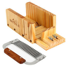 2 PCS Adjustable Loaf Soap Cutter Wooden Box With Wavy Slicer Cutting Tools Set
