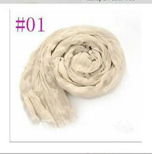 Women Long Big Crinkle Voile Soft Scarf Wrap Shawl Stole Pure Candy Beige