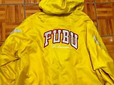 Vtg FUBU Sports Jacket Collection Gold Yellow Nylon Hood Size XXXL Spell out 90s