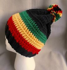 Handmade knit/crochet Rasta Hat/beanie - black w/ red, gold, & green