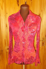 NEXT pink purple coral orange red paisley chiffon long sleeve blouse shirt top 8