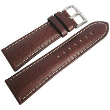22mm Hadley-Roma MS906 Mens Brown Leather Contrast Stitched Watch Band Strap