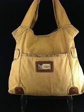 "FOSSIL Vintage ~  Large Tan Shoulder Tote Bag * 12"" X 4"" X 15"" sd 8"""