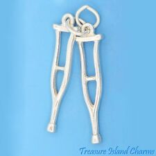 CRUTCHES PAIR MOVABLE 3D .925 Solid Sterling Silver Charm Pendant MADE IN USA