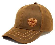 Ariat Men's Offset Logo Barbwire Oil Skin Brown Baseball Cap Hat -Free Shipping