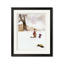 Calvin and Hobbes Walking on a Snowy Day Poster Print
