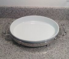 "ALL-CLAD White Porcelain 11"" X 8"" OVAL ROASTER / BAKER with Stainless TRIVET"