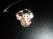 snowman ring ~ stretch to fit ~ beaded rhinestone silver white ~ pre-teen- women