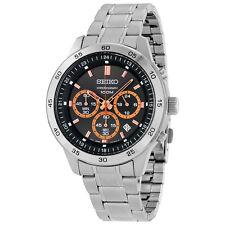 Seiko Chronograph Dark Grey Dial Stainless Steel Mens Watch SKS521