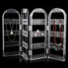 Earring Necklace Studs Organizer - Acrylic Folding Jewelry Holder Rack Display