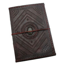 Indra Fair Trade Handmade A4 Stitched and Embossed Stoned Leather Journal