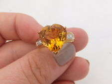 9ct/ 9k gold Diamond & heart Citrine heavy ring, 375