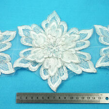 1 METRE WHITE W/ SILVER FLORAL LACE 175mm WIDTH BRIDAL TRIM TRIMMING HL2196
