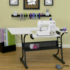 White Sewing Machine Table Folding Crafting Computer Desk Hobby Cabinet Storage