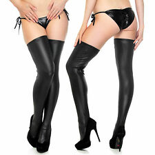 Women Glam Gothic Punk Wetlook Shiny Stretch PU Thigh High Stockings w/ Thong