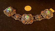 RARE Victorian Etruscan Haute couture massive Molded Glass Bracelet Vintage 1800