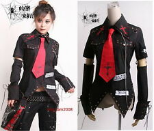 Unisex VISUAL kei PUNK Gothic KERA Lolita shirt top Blouse + Red Tie Black Sz XL