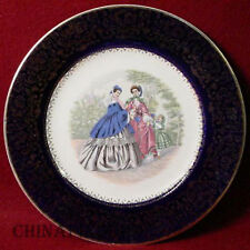 SALEM china GODEY PRINTS dark blue SERVICE PLATE #13