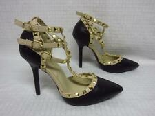 Wild Diva Lounge Adora-55N Studded Strap Pointed Toe Heels Black Sz 6M NEW