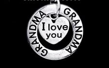 D20 I Love You Grandma Silver Circle Cut Out Heart Charm Necklace