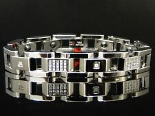 Mens Real Genuine Diamond Stainless Steel 12mm Bracelet .80 Ct 8 Inch