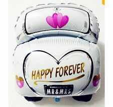 "Just Married Happy Forever wedding car foil balloon 60cm x 47cm or 24"" x 19"""