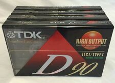 Lot of 4 TDK D-90 Minute Blank Audio Cassette Tape High Output