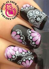 NAIL ART WRAPS WATER TRANSFERS STICKERS DECALS DECO SET FLOWERS WHITE LACE #183