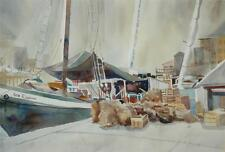 Beautiful Original Watercolor Harbour Scene by New England Artist Linda Sheppard