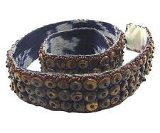Grano de Coco Cinturón con marrón y azul Semilla Cuentas - 31-Pulgada Ancho (4cm)