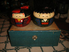 Vintage Japanese Or Chinese Painted Faces Lacquer Trinket Boxes-Pair-W/Box-LQQK