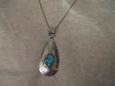 Native American Sterling Silver Turquoise Pendant wich silver chain
