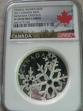 CANADA 20 DOLLARS 2011 MONTANA CRYSTALS SNOWFLAKES NGC PF-69 FINE SILVER COIN