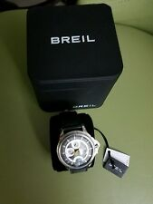 BREIL TW1337 MENS WATCH SILVER DOME GLASS AND BLACK STRAP JAPAN MOVEMENT