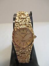 B34 New Dufonte by Lucien Piccard Women's Gold Nugget Band Dress Watch Japan Mvm