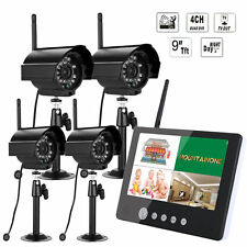 "2.4 G 9"" LCD DVR Wireless Security Surveillance System  with 4 Cameras CCTV"