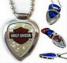 PICKBAY Chrome GUITAR PICK HOLDER Pendant & HARLEY Davidson Guitar Pick Set