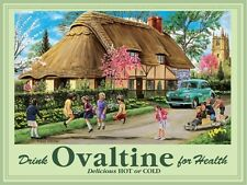 Ovaltine, Drink, Thatch Cottage, Morris Minor Car, Country, Large Metal/Tin Sign