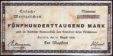 STETTIN 1923 500,000 Inflation Notgeld German Banknote today Szczecin Poland
