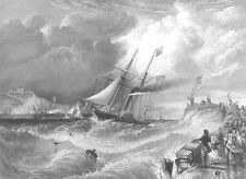 SAILBOAT STEAMSHIP IN ROUGH SEAS WAVES ~ Old 1857 Seascape Art Print Engraving