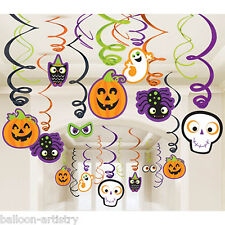30 Assorted Halloween Creepy Friends Party Hanging Cutouts Swirls Decorations